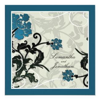 Lövrikt för grönt för bröllopinbjudankricka fyrkantigt 13,3 cm inbjudningskort