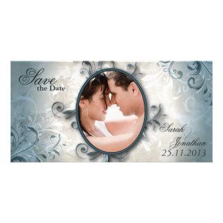 Lövverk för bröllop spara datummeddelandevintage fotokort