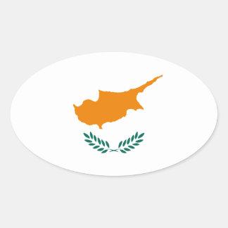 Lowen kostar! Cypern flagga Ovalt Klistermärke