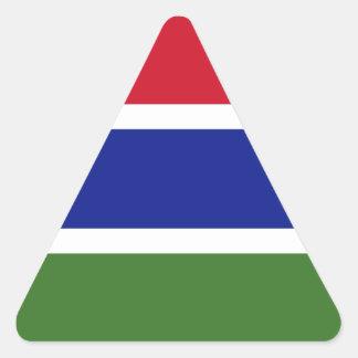 Lowen kostar! Gambia flagga Triangelformat Klistermärke