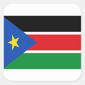 Lowen kostar! Södra Sudan flagga Fyrkantigt Klistermärke