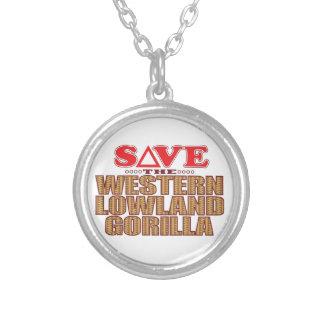 Lowlandgorillaspara Silverpläterat Halsband