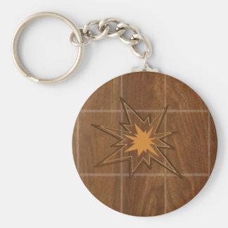 LOWPRICE Wood panel för gnistraSTJÄRNAamerikan WAL Rund Nyckelring