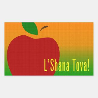 L'Shana Tova Apple Rektangulärt Klistermärke