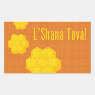 L'Shana Tova honungskakor Rektangulärt Klistermärke