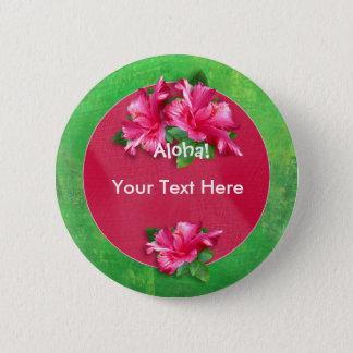 Luau Aloha knäppas den rosa hibiskusen Standard Knapp Rund 5.7 Cm