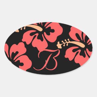 Luau bröllopsetiketter ovalt klistermärke