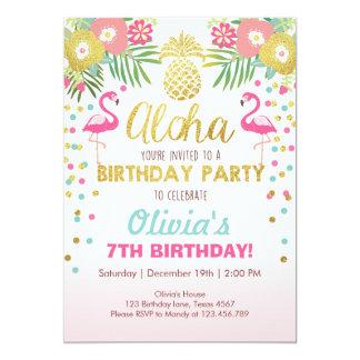 Luau för födelsedag för Flamingopartyinbjudan 12,7 X 17,8 Cm Inbjudningskort