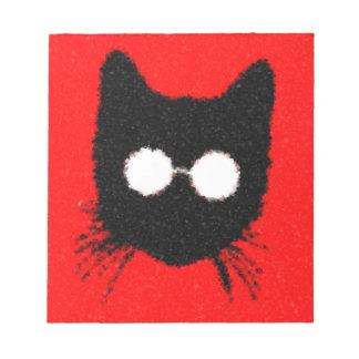 Luddig Hipsterkatt med svart exponeringsglas - som Anteckningsblock