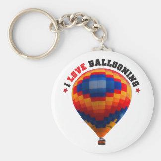 Luftballong - ballongflygande rund nyckelring
