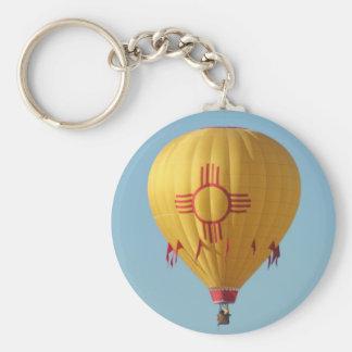 Luftballong Keychain för Zia solsymbol Rund Nyckelring