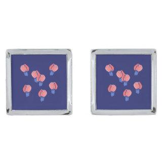 Luftballonger kvadrerar Cufflinks Silverpläterade Manschetterknappar