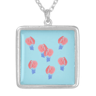 Luftballongmedlet kvadrerar halsbandet silverpläterat halsband