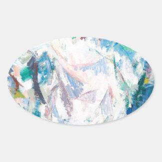 Luftig Cubism landskap (abstrakt cubism) Ovalt Klistermärke