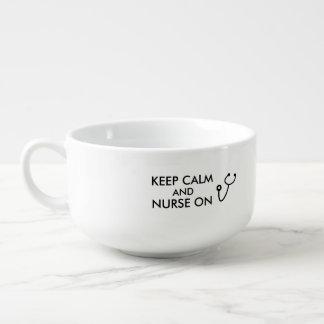 Lugn och sjuksköterska för behålla för soppmugg