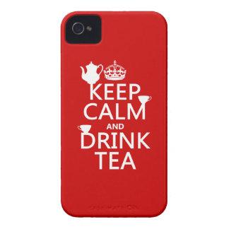 Lugna behålla och drinkTea - allt färgar iPhone 4 Case-Mate Skydd