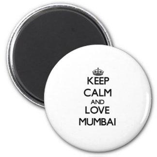 Lugna behålla och kärlek Mumbai Magnet Rund 5.7 Cm