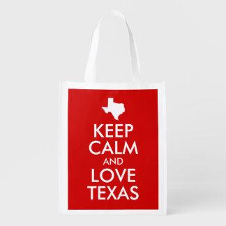 Lugna behålla och kärlek röda Texas Återanvändbar Påse