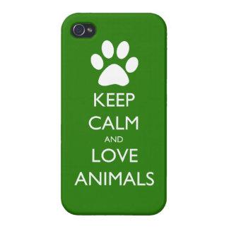 Lugna behålla och kärlekdjur iPhone 4 fodral