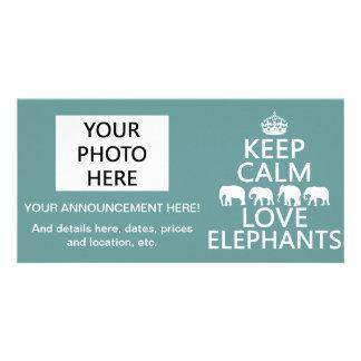 Lugna behålla och kärlekelefanter fotokort