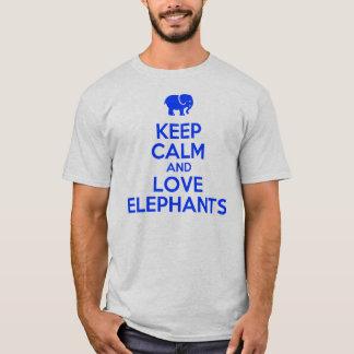 lugna behålla och kärlekelefanter tee shirt