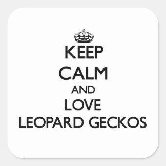 Lugna behålla och kärlekLeopardGeckos Fyrkantigt Klistermärke