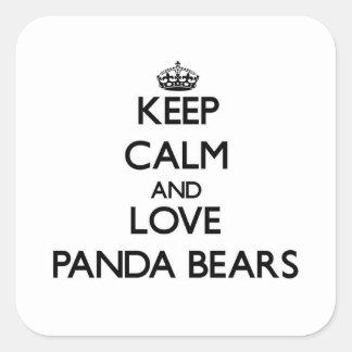 Lugna behålla och kärlekPandabjörnar Fyrkantigt Klistermärke