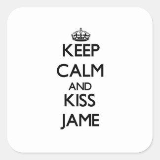 Lugna behålla och kyss Jame Fyrkantiga Klistermärken