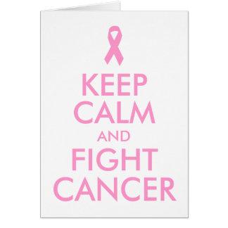 Lugna behålla och slagsmålcancerkort hälsningskort