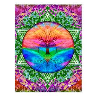 Lugna livets träd i regnbågefärger vykort