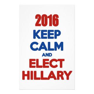 Lugnaa och utvalda Hillary 2016 för behålla Brevpapper