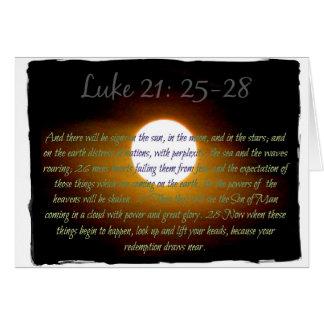 Luke 21:25 - 28 verses med månen hälsningskort