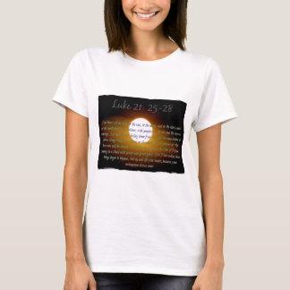 Luke 21:25 - 28 verses med månen t-shirts
