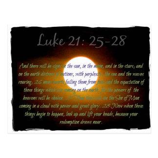 Luke 21:25 - 28 verses med månen vykort