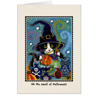 Lukten av Halloween! Kattungekort Hälsningskort