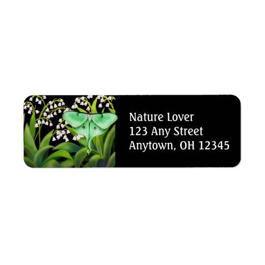 Luna mal i liljekonvaljblommaetikett returadress etikett