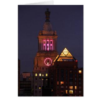Lura Edison tar tid på torn som tändas upp i rosor Hälsningskort