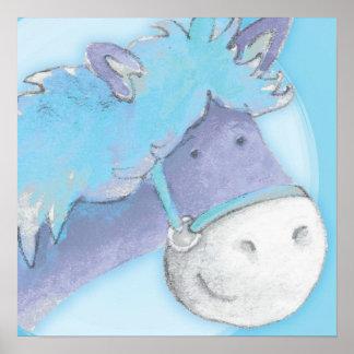 lurar lite ponnyn som baby blue konst kvadrerar af posters