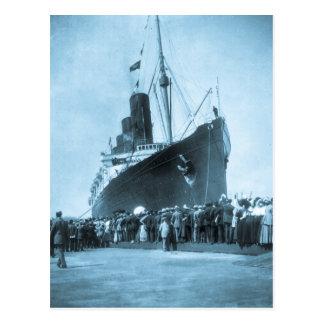 Lusitania ankommer i New York vintage Vykort