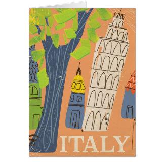 Lutande torn av den Pisa vintage resoraffischen Hälsningskort