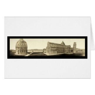 Lutande torn av det Pisa fotoet 1909 Hälsningskort