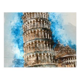Lutande torn av Pisa i italien Vykort