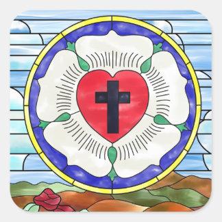 Luther förseglar målat glassfönstret fyrkantigt klistermärke