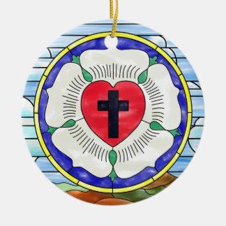 Luther förseglar målat glassfönstret julgransprydnad keramik
