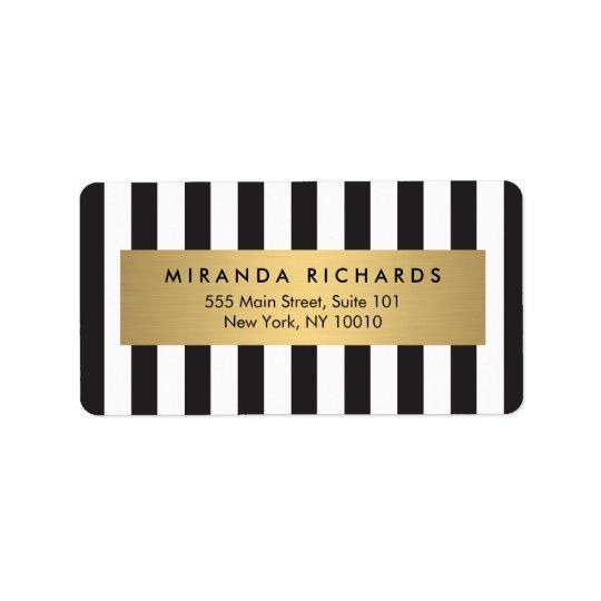 Luxe djärva svartvita randar med den guld- puben adressetikett