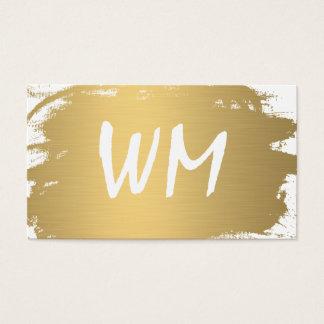 Luxe guld borstad modern text för Monogram Visitkort