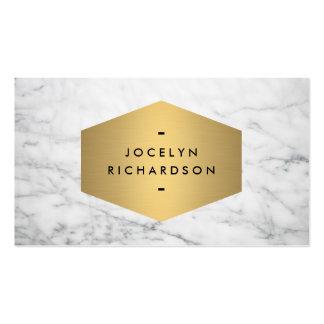 Luxe guld- Emblem på vitmarmor Set Av Standard Visitkort