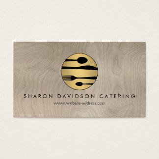 Luxe guld och Wood catering för beige, restaurang Visitkort