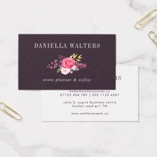Luxe plommon och rosa botanisk blommavisitkort visitkort
