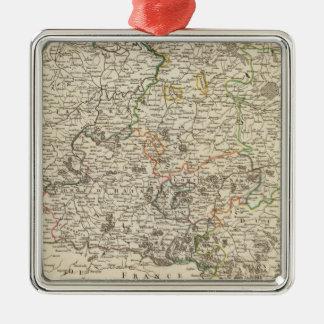 Luxembourg Belgien Silverfärgad Fyrkantigt Julgransprydnad